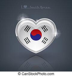 South Korea - Glossy heart shape flags of the Worlds:...