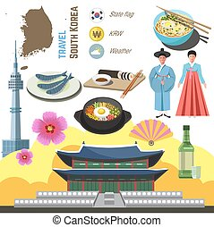 South Korea culture symbol set. Travel Seoul direction...