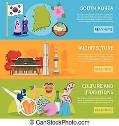 .South Korea Culure Flat Banners Design - South korea...