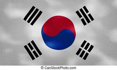 South Korea dense flag fabric wavers, background loop - ...