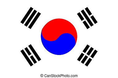 2D illustration of the flag of South Korea vector