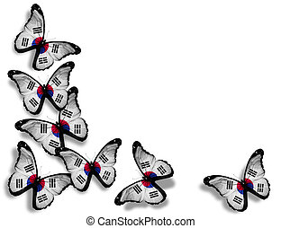 South Korea flag butterflies, isolated on white background
