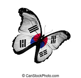 South Korea flag butterfly flying, isolated on white background