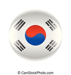 South Korea flag icon in the form of a ball. Vector eps 10
