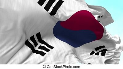 South Korea Flag in the Wind