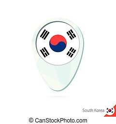 South Korea flag location map pin icon on white background.