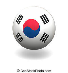 National flag of South Korea on sphere isolated on white background