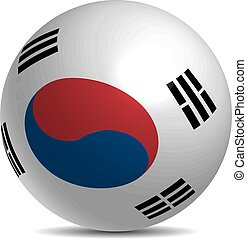 South Korea flag on a 3d ball with shadow