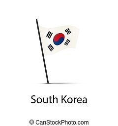 South Korea flag on pole, infographic element on white