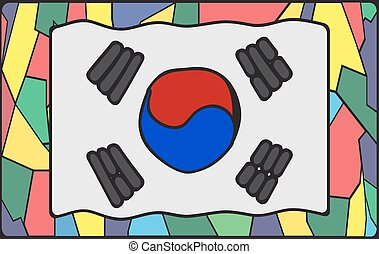 South Korea Flag On Stained Glass