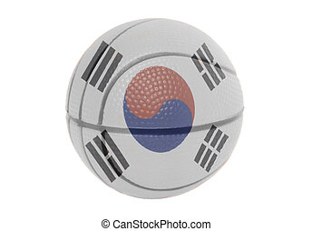 South Korea Flag on volleyball ball