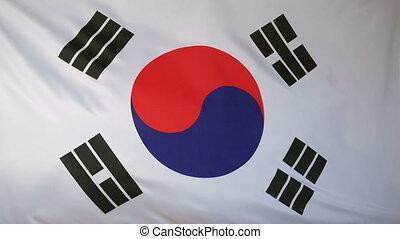 South Korea Flag real fabric 4K - Textile flag of South...