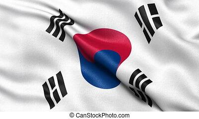 South Korea flag seamless loop