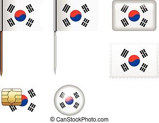 South Korea flag set