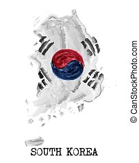 South korea flag watercolor painting design . Country map shape . Independence day concept ( 13 August 1948 ) . Vector .