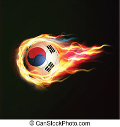 South Korea flag with flying soccer ball on fire isolated black background, vector illustration