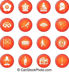 South Korea icons vector set
