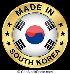 South Korea Made In Badge - Made in South Korea gold badge...