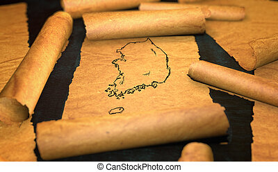 South Korea Map Drawing Unfolding Old Paper Scroll 3D