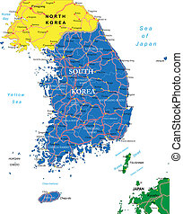 South Korea map - Highly detailed vector map of South Korea...