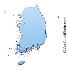 South Korea map filled with light blue gradient. High...