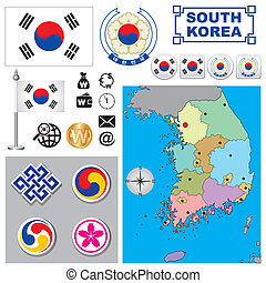 South Korea map - Vector map of South Korea with a set of...