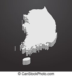 South Korea map in gray on a black background 3d