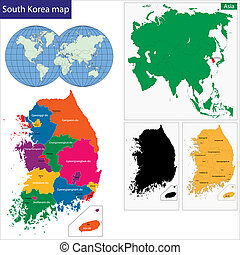 South Korea map - Map of administrative divisions of South...