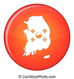 South Korea map with flag icon, flat style