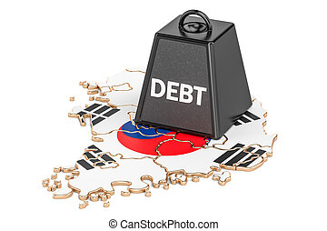 South Korea national debt or budget deficit, financial crisis concept, 3D rendering