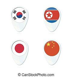 South Korea, North Korea, Japan, China flag location map pin icon.