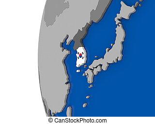 South Korea on globe