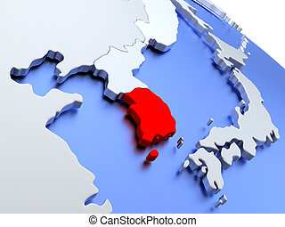 South korea on physical map south korea highlighted in red south korea on world map gumiabroncs Images