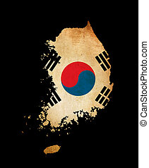 South Korea outline map with grunge flag - Map outline of...