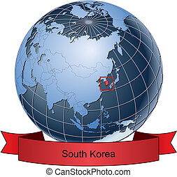 South Korea, position on the globe Vector version with separate layers for globe, grid, land, borders, state, frame; fully editable