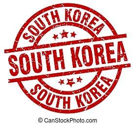 South Korea red round grunge stamp