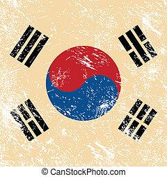 South Korea retro flag - South Korean vintage flag - grunge...
