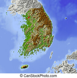 South Korea. Shaded relief map. Surrounding territory greyed out. Colored according to elevation. Includes clip path for the state area. Projection: Mercator Extents: 124/132/32.8/39