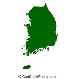 South Korea map isolated on white background.