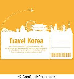 South Korea travel by plane. vector illustration