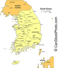 South Korea with Administrative Districts and Surrounding...