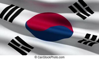 South Korean flag, 3d animation. perfect seamless loop
