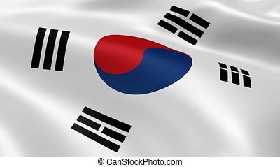 South Korean flag in the wind