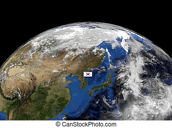 South Korean flag on pole on earth globe illustration