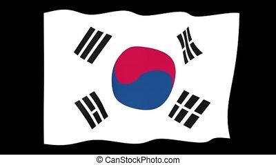South Korean flag. Waving