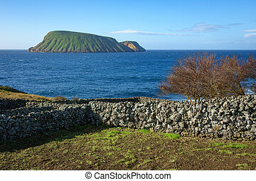 Terceira island with goat islands in Azores Portugal