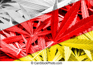 South Ossetia Flag on cannabis background. Drug policy. ...