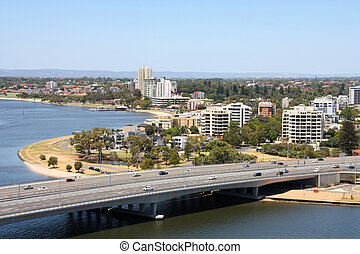 South Perth skyline view from Kings Park. Australian city ...