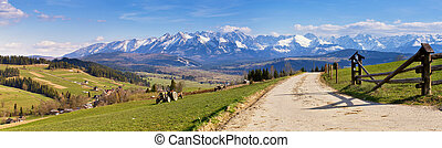 South Poland Panorama with snowy Tatra mountains in spring,