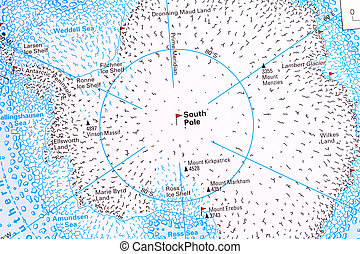 South Pole and Antarctica map.